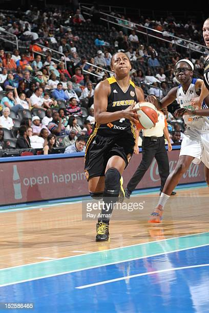 Amber Holt of the Tulsa Shock drives to the basket on September 22 2012 at the Prudential Center in Newark New Jersey NOTE TO USER User expressly...