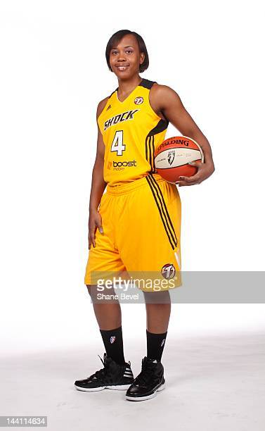 Amber Holt of the Tulsa Shock poses for a portrait at the WNBA Tulsa Shock Media Day on May 7 2012 at the BOK Center in Tulsa Oklahoma NOTE TO USER...