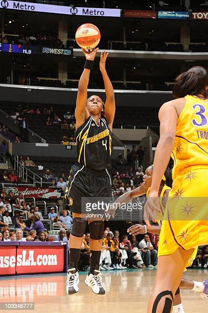 Amber Holt of the Tulsa Shock shoots during a WNBA game against the Los Angeles Sparks on August 6 2010 at Staples Center in Los Angeles California...