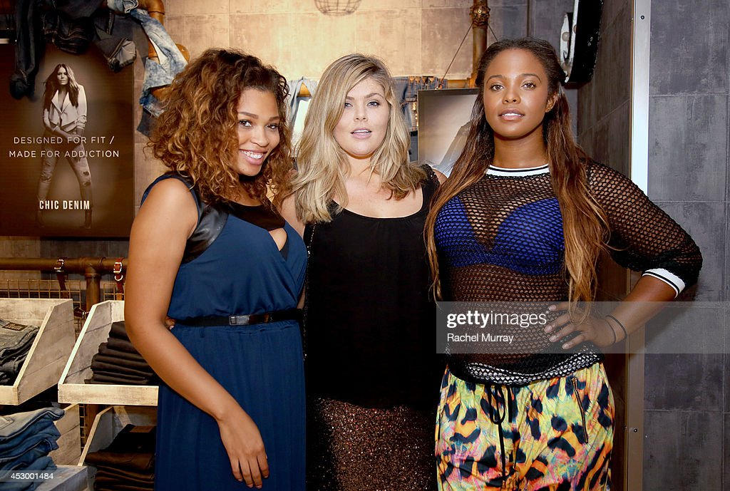 Amber Jones, Michaela McGrady, and Seymone CF in City Chic attend the City Chic Exclusive Preview: First U.S Store Culver City at Westfield Culver City Shopping Mall on July 31, 2014 in Culver City, California.