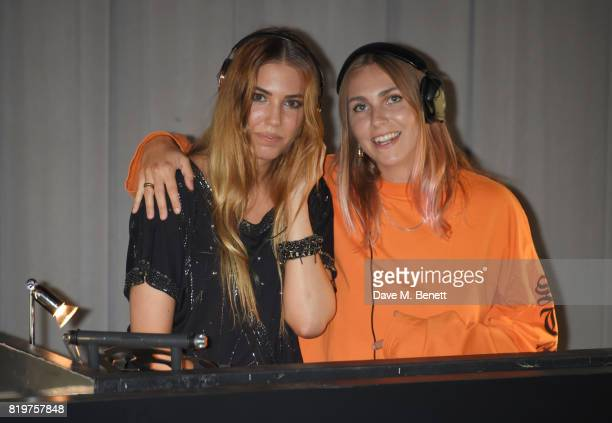 Amber Le Bon and Becky Tong DJ at the Emporio Armani You Fragrance launch at Sea Containers on July 20 2017 in London England