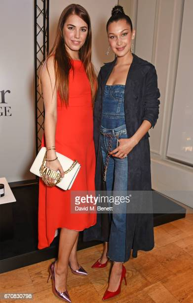 Amber Le Bon and Dior spokesmodel Bella Hadid celebrate the launch of her new Dior Pump 'N' Volume Mascara at Selfridges on April 20 2017 in London...