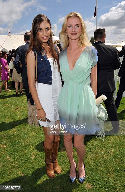 Amber Le Bon and guest attend the Cartier International Polo Day at Guards Polo Club on July 25 2010 in Egham England