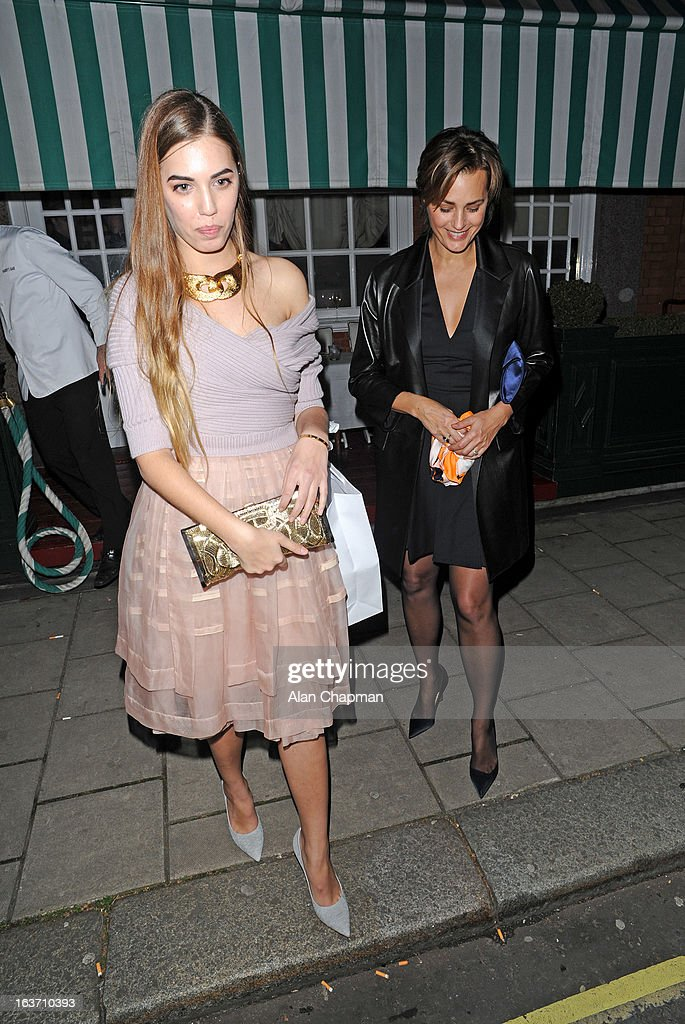 Amber le Bon and Jasmin le Bon sighting at Harry's Bar on March 14, 2013 in London, England.