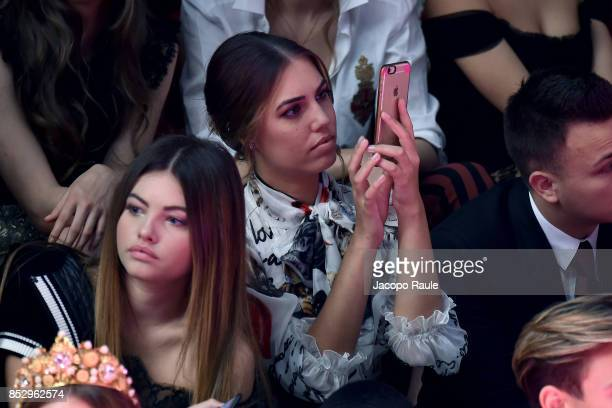 Amber Le Bon and Thylane Blondeau attend the Dolce Gabbana show during Milan Fashion Week Spring/Summer 2018 on September 24 2017 in Milan Italy