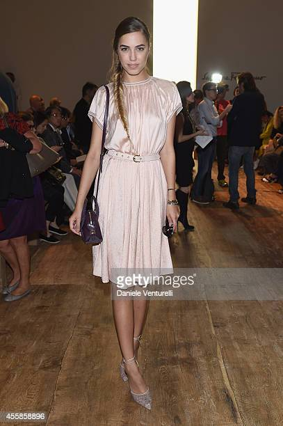 Amber Le Bon attend the Salvatore Ferragamo during the Milan Fashion Week Womenswear Spring/Summer 2015 on September 21 2014 in Milan Italy