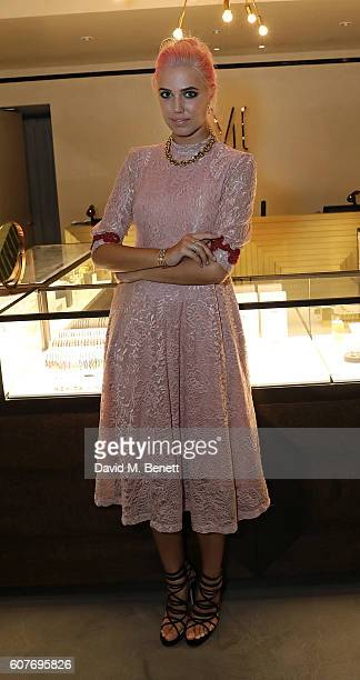 Amber Le Bon attends an intimate dinner hosted by Monica Vinader to celebrate Fashion Artist Jenny Walton's illustrations of the iconic Signature...