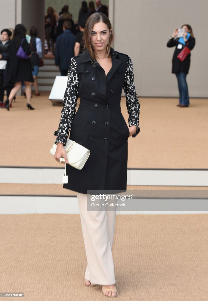 Amber Le Bon attends the Burberry Womenswear SS15 show during London Fashion Week at Kensington Gardens on September 15, 2014 in London, England.