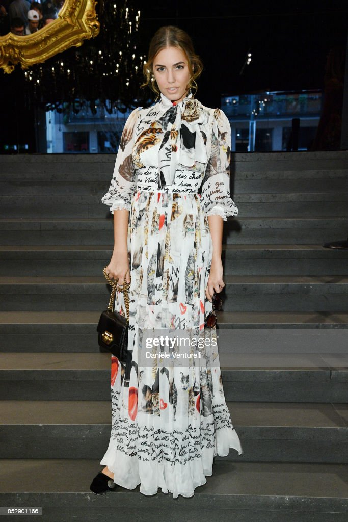 Amber Le Bon attends the Dolce & Gabbana show during Milan Fashion Week Spring/Summer 2018 on September 24, 2017 in Milan, Italy.