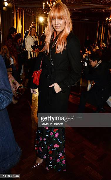 Amber Le Bon attends the Emilio de la Morena show during London Fashion Week Autumn/Winter 2016/17 at Hotel Cafe Royal on February 23 2016 in London...
