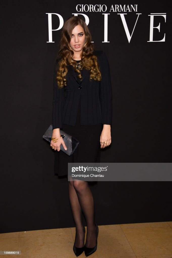 Amber Le Bon attends the Giorgio Armani Prive Spring/Summer 2013 Haute-Couture show as part of Paris Fashion Week at Theatre National de Chaillot on January 22, 2013 in Paris, France.