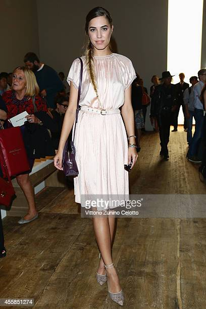 Amber Le Bon attends the Salvatore Ferragamo during the Milan Fashion Week Womenswear Spring/Summer 2015 on September 21 2014 in Milan Italy