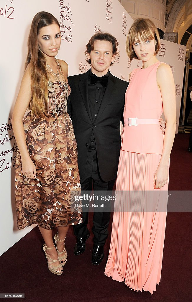 Amber Le Bon, Christopher Kane and Edie Campbell attend a drinks reception at the British Fashion Awards 2012 at The Savoy Hotel on November 27, 2012 in London, England.
