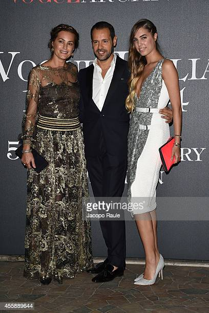Amber Le Bon designer Massimiliano Giornetti and Yasmin Le Bon attend Vogue Italia 50th Anniversary during Milan Fashion Week Womenswear...