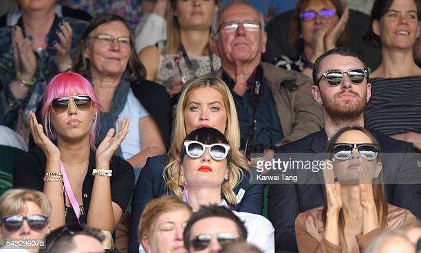Amber Le Bon Laura Whitmore and Sam Smith attend day one of the Wimbledon Tennis Championships at Wimbledon on June 27 2016 in London England
