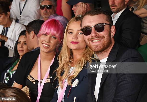 Amber Le Bon Laura Whitmore and Sam Smith attend the evian Live Young suite during Wimbledon 2016 at the All England Tennis and Croquet Club on June...