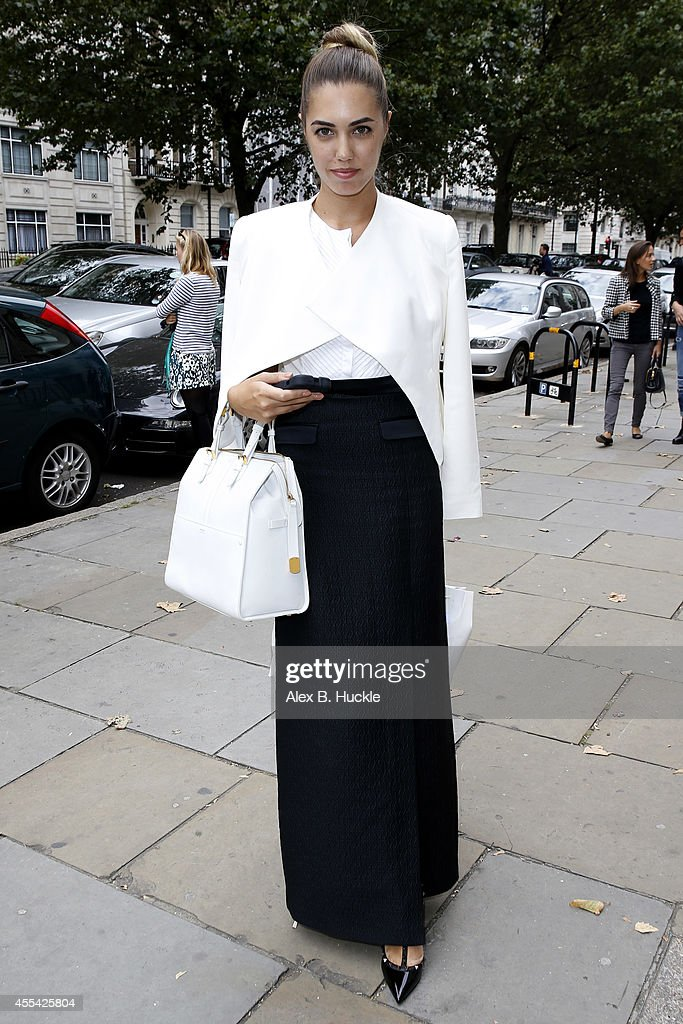 Amber Le Bon seen arriving at the Royal Institute of British Architects Portland Place for the Temperley London show on September 14 2014 in London...
