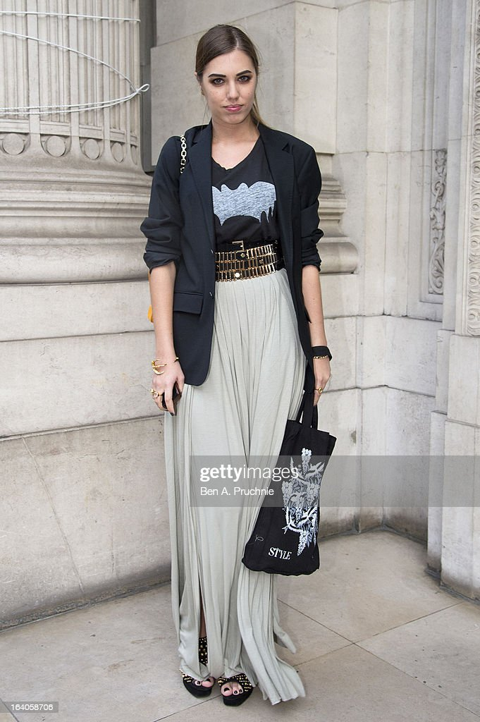Amber Le Bon sighted arriving at Global Kids Fashion Week at Freemasons' Hall on March 19, 2013 in London, England.
