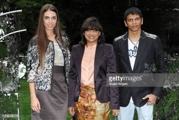 Amber Le Bon Vanessa Gounden and Lee Gounden attend the launch of the new collection by designer label Vanessa G at Goring Hotel on September 8 2011...