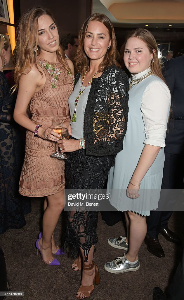 Amber Le Bon Yasmin Le Bon and Tallulah Le Bon attend the Red Magazine dinner in honour of Yasmin Le Bon at Bulgari Hotel on June 17 2015 in London...