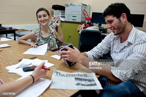Amber McGarvey left of the Nutshell student newspaper interviews Jonathan Pekar class valedictorian at the Upper Freehold Regional District Allentown...