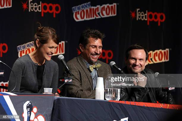 Amber Nash Lucky Yates and Christian Slater speak during the 'Archer' panel at the 2014 New York Comic Con at Jacob Javitz Center on October 10 2014...