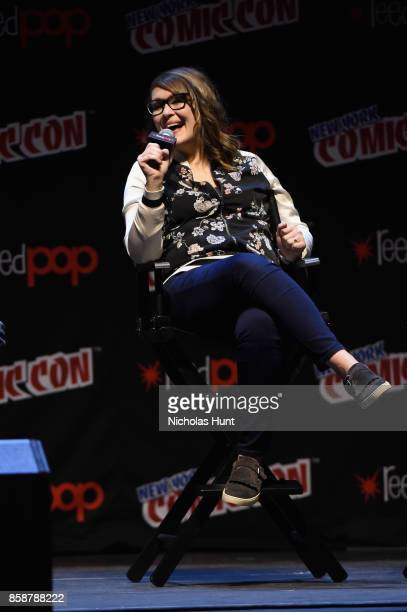 Amber Nash speaks at the Archer Danger Island Screening and QA panel during 2017 New York Comic Con Day 3 on October 7 2017 in New York City