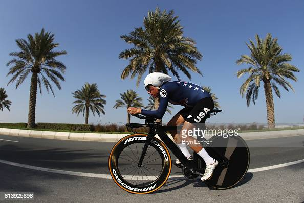 Amber Neben of USA competes in the Women's Elite Individual Time Trial on day 3 of the UCI Road World Championships on October 11 2016 in Doha Qatar