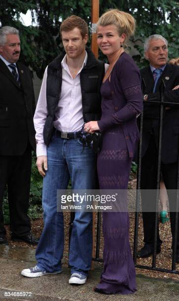 Amber Nuttall and chef Tom Aikens arrive at Sir David Frost's Summer Garden Party in Carlyle Square west London