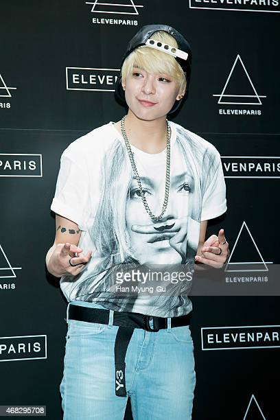 Amber of girl group f attends the photocall for 'ElevenParis' Korean Launch event on April 1 2015 in Seoul South Korea