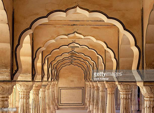 Amber Palace's arched corridors.