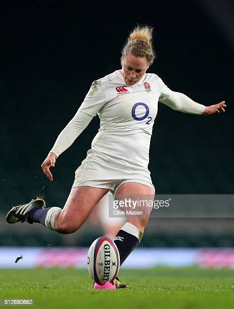 Amber Reed of England kicks at goal during the Women's Six Nations match between England and Ireland at Twickenham Stadium on February 27 2016 in...