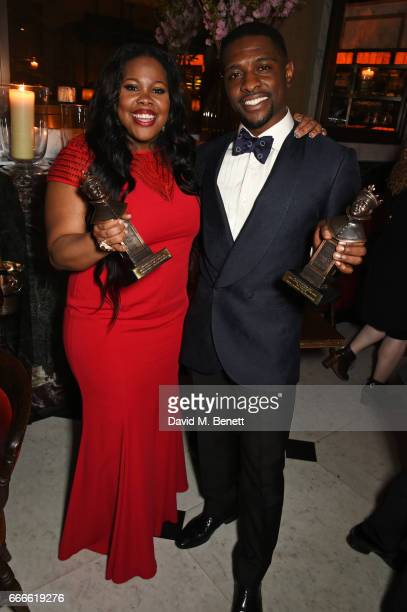 Amber Riley and Adam J Bernard attends The Olivier Awards 2017 after party at Rosewood London on April 9 2017 in London England
