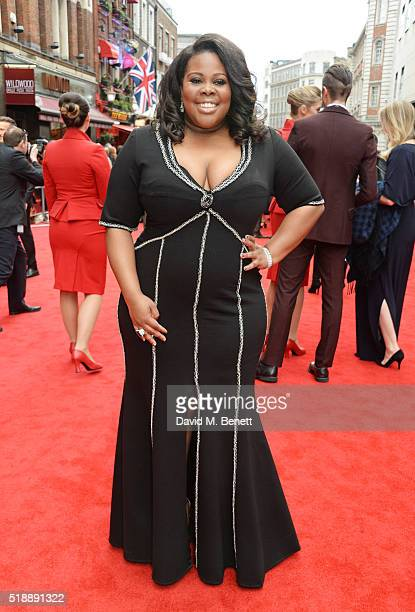 Amber Riley arrives at The Olivier Awards with Mastercard at The Royal Opera House on April 3 2016 in London England