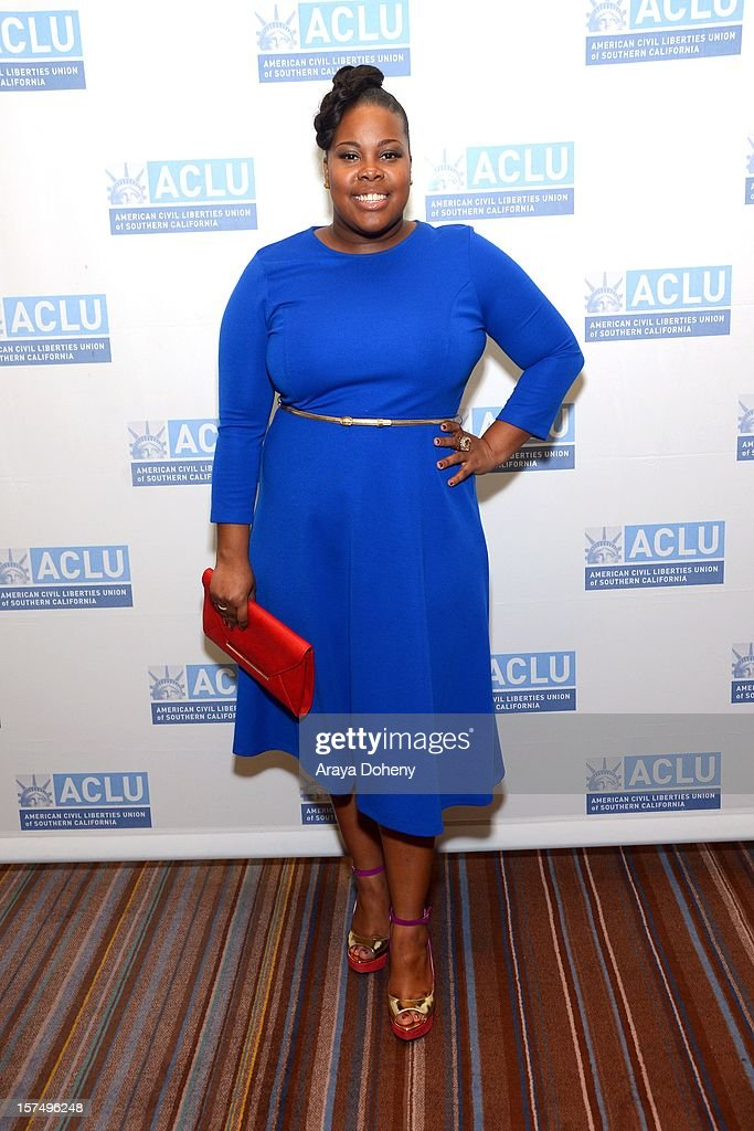 Amber Riley attends the ACLU of Southern California's 2012 Bill of Rights Dinner at the Beverly Wilshire Four Seasons Hotel on December 3, 2012 in Beverly Hills, California.