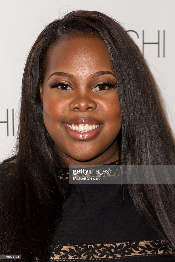 <a gi-track='captionPersonalityLinkClicked' href=/galleries/search?phrase=Amber+Riley&family=editorial&specificpeople=5662111 ng-click='$event.stopPropagation()'>Amber Riley</a> attends the Tadashi Shoji show during Spring 2014 Mercedes-Benz Fashion Week at The Stage at Lincoln Center on September 5, 2013 in New York City.