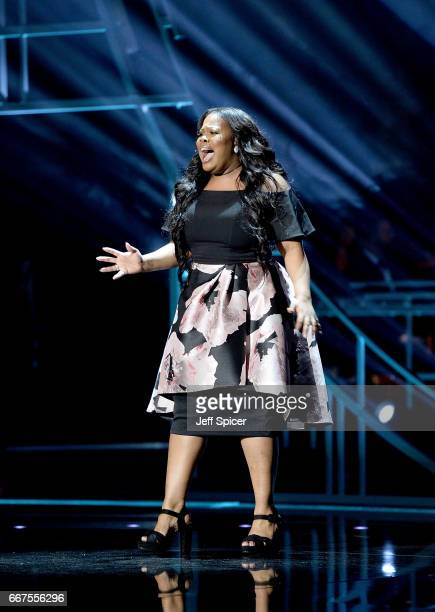 Amber Riley performs on stage during The Olivier Awards 2017 at Royal Albert Hall on April 9 2017 in London England