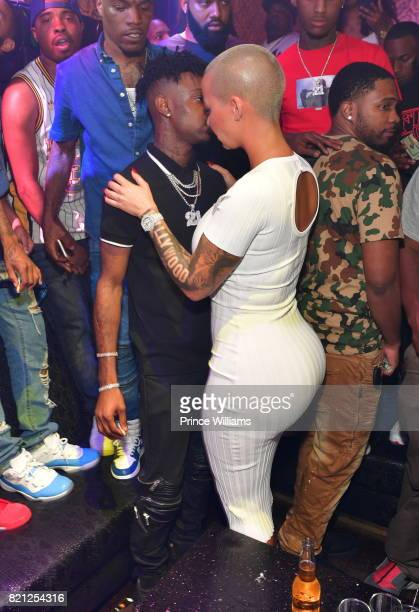 Amber Rose and 21 Savage attend a Party Hosted By Amber Rose at Medusa Lounge on July 23 2017 in Atlanta Georgia