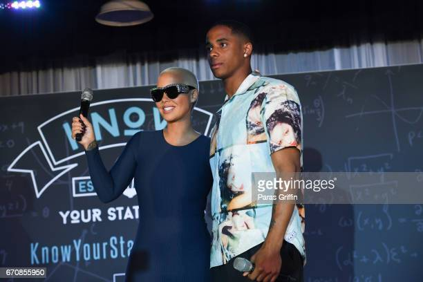 Amber Rose and Cordell Broadus onstage at AHF Presents The Know Your Status Tour Atlanta at Clark Atlanta Univeristy on April 20 2017 in Atlanta...