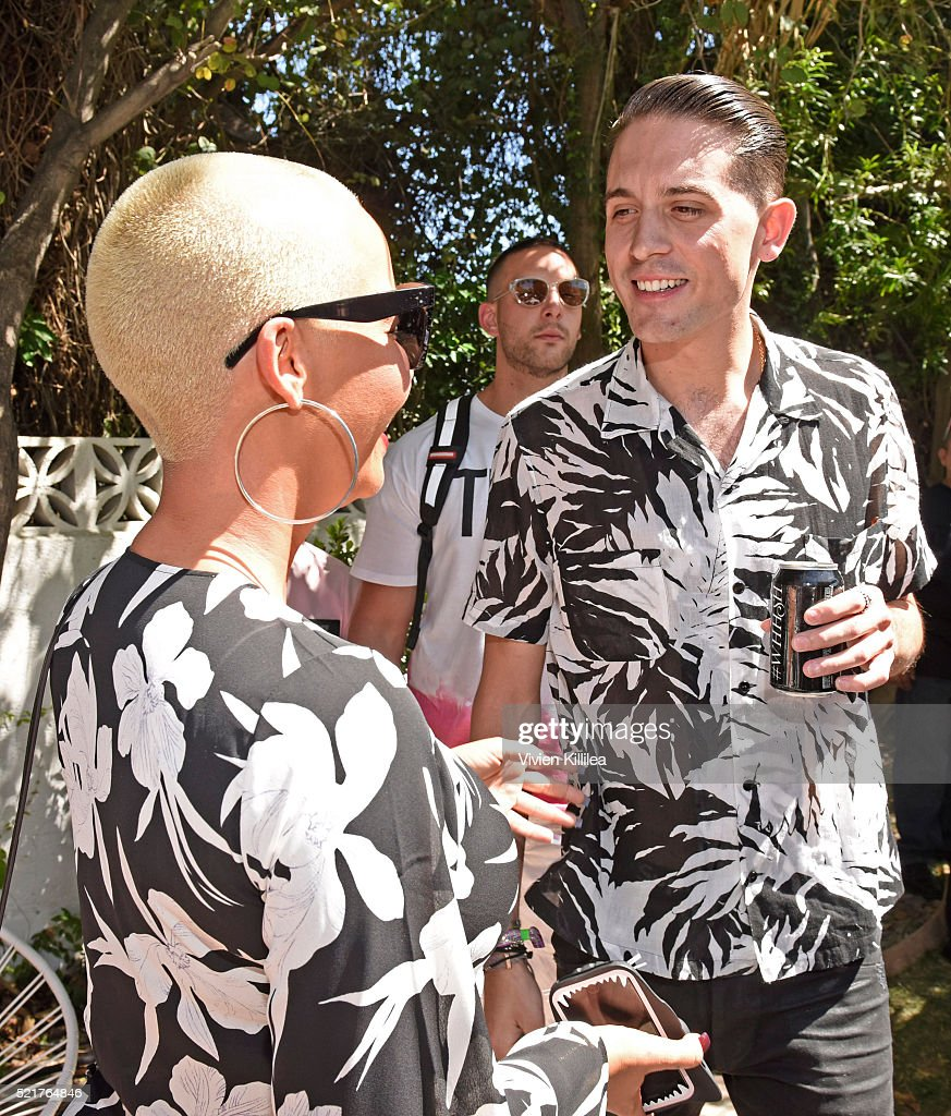 Amber Rose and GEazy attend The Music Lounge In Palm Springs at the Ingleside Inn on April 16 2016 in Palm Springs California