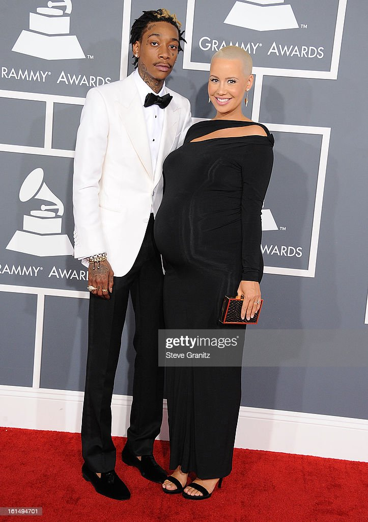 Amber Rose and Wiz Khalifa arrives at the The 55th Annual GRAMMY Awards on February 10, 2013 in Los Angeles, California.