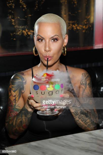 Amber Rose is seen celebrating the end of summer at Sugar Factory American Brasserie on August 18 2017 in Miami Beach Florida