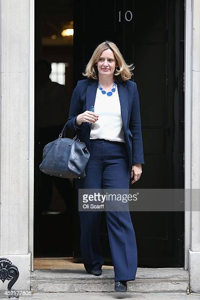Amber Rudd the new Junior Minister at the Department of Energy and Climate Change departs Downing Street on July 15 2014 in London England British...