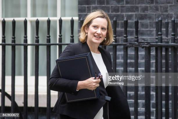 Amber Rudd UK home secretary arrives for a weekly meeting of cabinet ministers at number 10 Downing Street in London UK on Tuesday Sept 5 2017 UK...