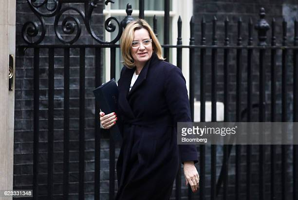 Amber Rudd UK home secretary arrives to attend the weekly cabinet meeting at Downing Street in London UK on Tuesday Nov 15 2016 The UK denied a...