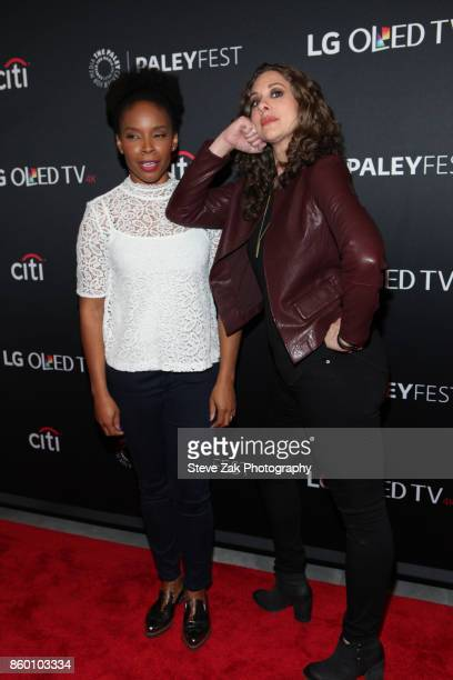 Amber Ruffin and Jenny Hagel attend PaleyFest NY 2017 'Late Night With Seth Meyers' at The Paley Center for Media on October 10 2017 in New York City