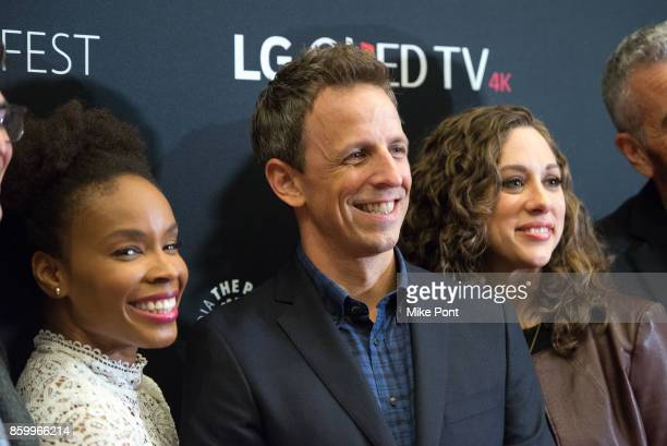 Amber Ruffin Seth Meyers and Jenny Hagel attend 'Late Night With Seth Meyers' during PaleyFest NY 2017 at The Paley Center for Media on October 10...