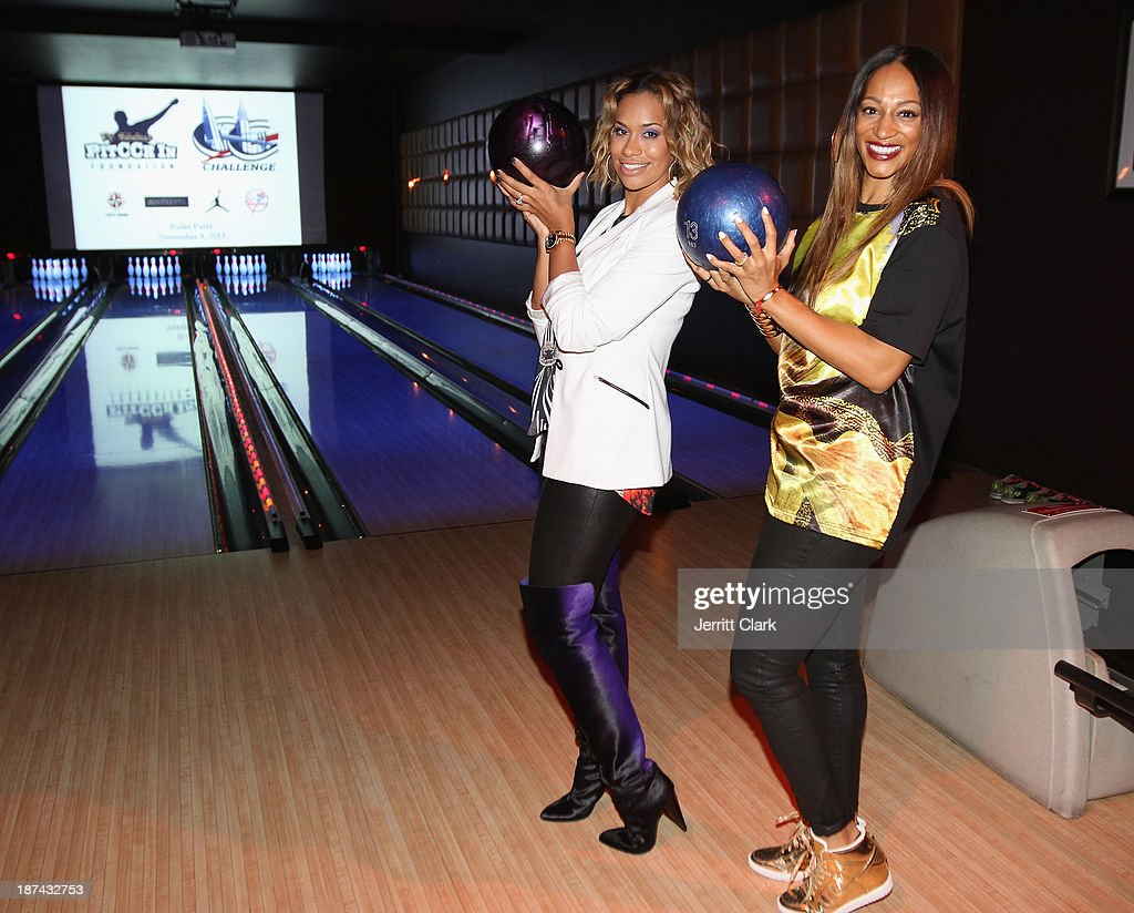 Amber Sabathia and Alexis Stoudemire attend the PitCCh In Foundation 2013 Challenge Rules Party at Luxe at Lucky Strike Lanes on November 8, 2013 in New York City.