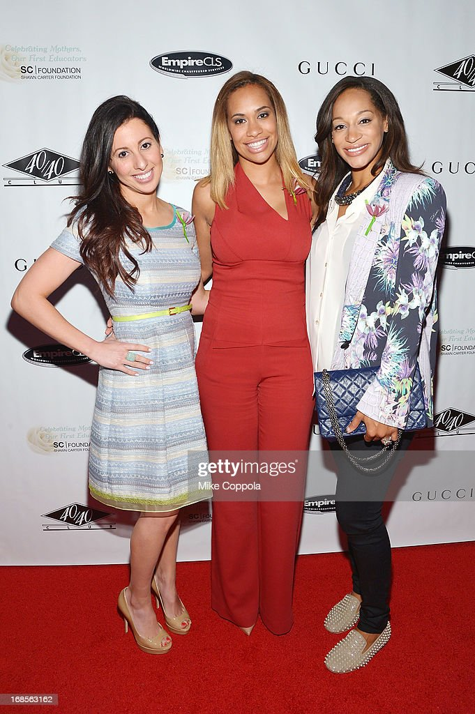 Amber Sabathia (C) and Alexis Stoudemire (R) attend the Shawn Carter Foundation's Mother's Day event 'Celebrating Mothers, Our First Educators' at 40 / 40 Club on May 11, 2013 in New York City.