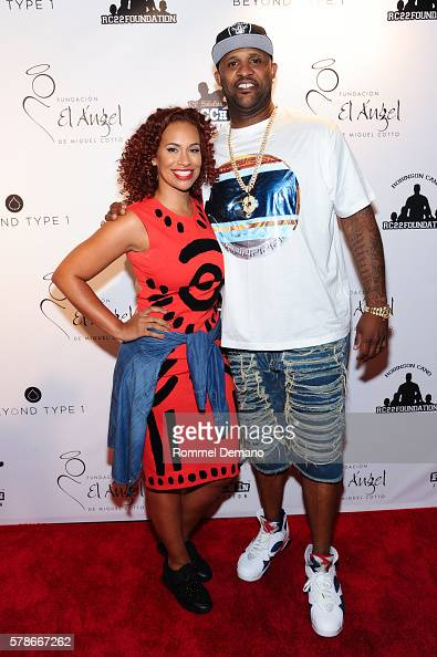 Amber Sabathia and CC Sabathia attend 2016 Roc Nation Summer Classic Charity Basketball Tournament at Barclays Center of Brooklyn on July 21 2016 in...